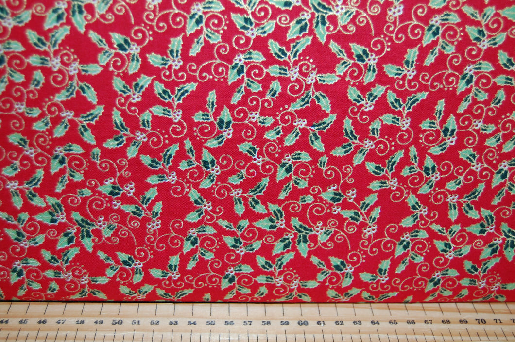 fabric shack sewing quilting sew fat quarter cotton quilt patchwork dressmaking craft cotton co company holly berry berries metallic green red cream christmas holidays (3)