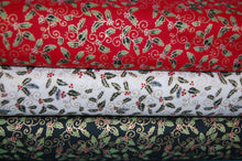 fabric shack sewing quilting sew fat quarter cotton quilt patchwork dressmaking craft cotton co company holly berry berries metallic green red cream christmas holidays (5)