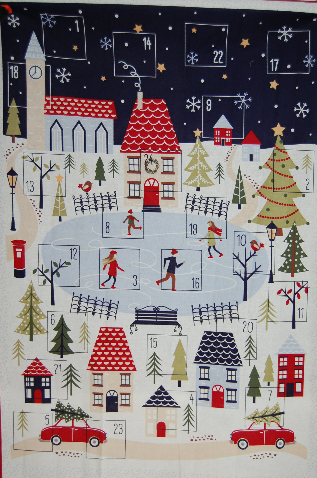 fabric shack sewing quilting sew fat quarter cotton quilt patchwork dressmaking craft cotton co company ski christmas holidays xmas village advent calendar panel