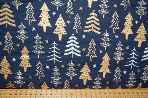 fabric shack sewing quilting sew fat quarter cotton quilt patchwork dressmaking craft cotton co reindeer forest metallic mettallic gold trees stag snowflakes forest navy white (5)