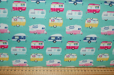 fabric shack sewing quilting sew fat quarter cotton quilt patchwork dressmaking dani mogstad riley blake id rather be glamping caravan tent bicycle panel placemat bunting pillow pot holder (4)