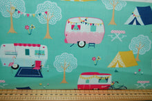fabric shack sewing quilting sew fat quarter cotton quilt patchwork dressmaking dani mogstad riley blake id rather be glamping caravan tent bicycle panel placemat bunting pillow pot holder