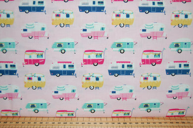 fabric shack sewing quilting sew fat quarter cotton quilt patchwork dressmaking dani mogstad riley blake id rather be glamping caravan tent bicycle panel placemat bunting pillow pot holder (8)