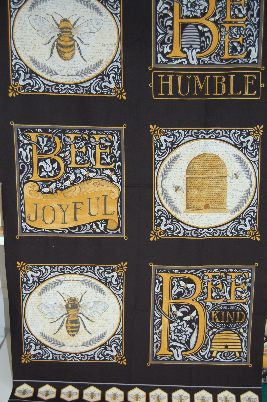 fabric shack sewing quilting sew fat quarter cotton quilt patchwork dressmaking deb strain moda bee joyful bumble hive script panel honeycomb yellow gold black cream (14)