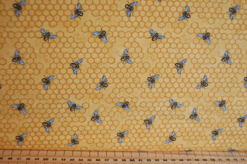 fabric shack sewing quilting sew fat quarter cotton quilt patchwork dressmaking deb strain moda bee joyful bumble hive script panel honeycomb yellow gold black cream (3)