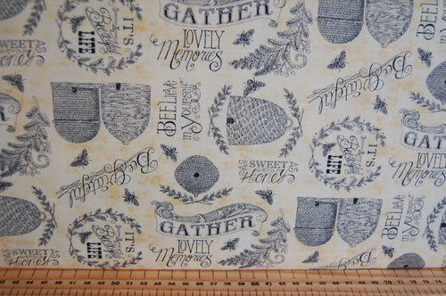 fabric shack sewing quilting sew fat quarter cotton quilt patchwork dressmaking deb strain moda bee joyful bumble hive script panel honeycomb yellow gold black cream (5)