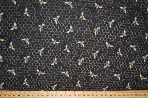 fabric shack sewing quilting sew fat quarter cotton quilt patchwork dressmaking deb strain moda bee joyful bumble hive script panel honeycomb yellow gold black cream (6)
