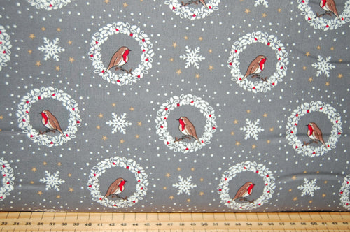fabric shack sewing quilting sew fat quarter cotton quilt patchwork dressmaking debbie shore deck the halls christmas holidays xmas robins love birds hearts (2)