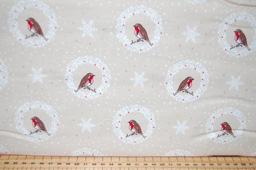 fabric shack sewing quilting sew fat quarter cotton quilt patchwork dressmaking debbie shore deck the halls christmas holidays xmas robins love birds hearts (4)