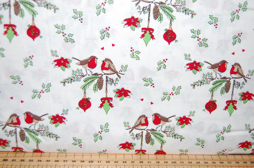 fabric shack sewing quilting sew fat quarter cotton quilt patchwork dressmaking debbie shore deck the halls christmas holidays xmas robins love birds hearts (5)