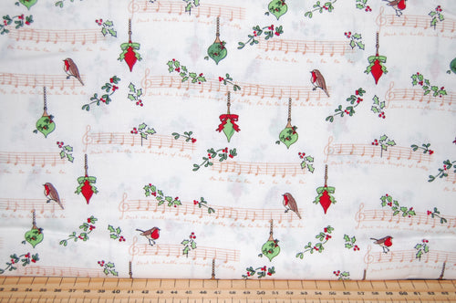 fabric shack sewing quilting sew fat quarter cotton quilt patchwork dressmaking debbie shore deck the halls christmas holidays xmas robins love birds hearts (7)