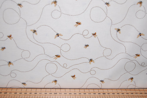 fabric shack sewing quilting sew fat quarter cotton quilt patchwork dressmaking dt-k signature studio e bee a keeper bees hives save the honey cream green khaki natural (2)