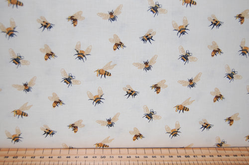 fabric shack sewing quilting sew fat quarter cotton quilt patchwork dressmaking dt-k signature studio e bee a keeper bees hives save the honey cream green khaki natural (4)