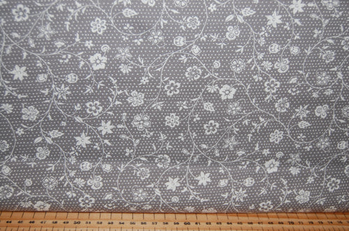 fabric shack sewing quilting sew fat quarter cotton quilt patchwork dressmaking french general moda grey flowers floral christmas holidays