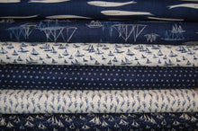 fabric shack sewing quilting sew fat quarter cotton quilt patchwork dressmaking janet clare moda ebb and & flow fish fishes yacht boat sail sailboat sailing harbour whales stars blue grey cream seaweed seaside