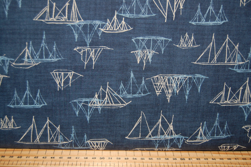 fabric shack sewing quilting sew fat quarter cotton quilt patchwork dressmaking janet clare moda ebb and & flow fish fishes yacht boat sail sailboat sailing harbour whales stars blue grey cream seaweed s (2)
