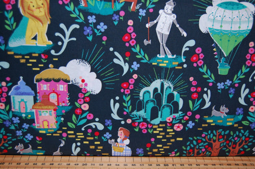 fabric shack sewing quilting sew fat quarter cotton quilt patchwork dressmaking jill howarth riley blake dorothy dorothy's journey wizard of oz yellow brick road wicked witch metallic lion tin man (4)