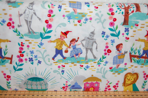fabric shack sewing quilting sew fat quarter cotton quilt patchwork dressmaking jill howarth riley blake dorothy dorothy's journey wizard of oz yellow brick road wicked witch metallic lion tin man (6)