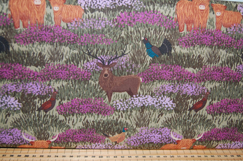 fabric shack sewing quilting sew fat quarter cotton quilt patchwork dressmaking lewis and irene celtic coorie scotland highland cattle stag thistle scottish check tartan pheasant cow blackwatch deer h (2)