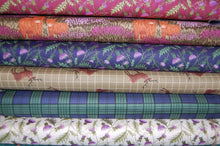 fabric shack sewing quilting sew fat quarter cotton quilt patchwork dressmaking lewis and irene celtic coorie scotland highland cattle stag thistle scottish check tartan pheasant cow blackwatch deer heather