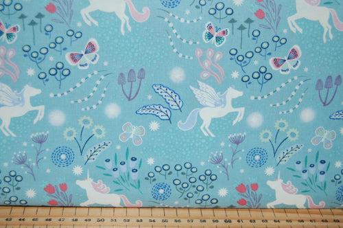 fabric shack sewing quilting sew fat quarter cotton quilt patchwork dressmaking lewis & and irene fairy nights glow in the dark fairies unicorn mushroom village glow in the dark meadow spots pixies butterfly