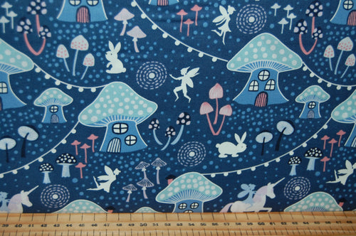 fabric shack sewing quilting sew fat quarter cotton quilt patchwork dressmaking lewis & and irene fairy nights glow in the dark fairies unicorn mushroom village glow in the dark meadow spots pixies (5)