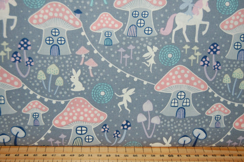 fabric shack sewing quilting sew fat quarter cotton quilt patchwork dressmaking lewis & and irene fairy nights glow in the dark fairies unicorn mushroom village glow in the dark meadow spots pixies
