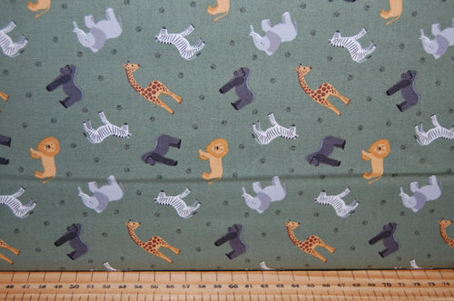 fabric shack sewing quilting sew fat quarter cotton quilt patchwork dressmaking lewis & and irene small things world animals creatures african lion zebra gorilla giraffe