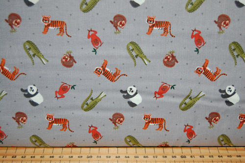 fabric shack sewing quilting sew fat quarter cotton quilt patchwork dressmaking lewis & and irene small things world animals creatures asian asia crocodile tiger panda bushbaby