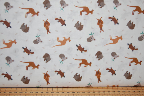 fabric shack sewing quilting sew fat quarter cotton quilt patchwork dressmaking lewis & and irene small things world animals creatures australian kangaroo wombat platypus koala