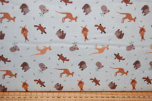 fabric shack sewing quilting sew fat quarter cotton quilt patchwork dressmaking lewis & and irene small things world animals creatures australian kangaroo wombat platypus koala (2)