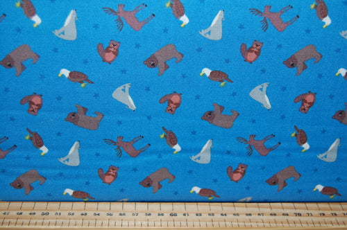 fabric shack sewing quilting sew fat quarter cotton quilt patchwork dressmaking lewis & and irene small things world animals creatures north amerian america bear moose wolf bold eagle beaver