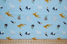 fabric shack sewing quilting sew fat quarter cotton quilt patchwork dressmaking lewis & and irene small things world animals creatures south american toucan sloth cheetah llama wombat