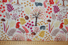 fabric shack sewing quilting sew fat quarter cotton quilt patchwork dressmaking lewis & and irene under the oak tree woodland animals creatures leaves autumn red mustard leaves leaf hedgehog squirrel