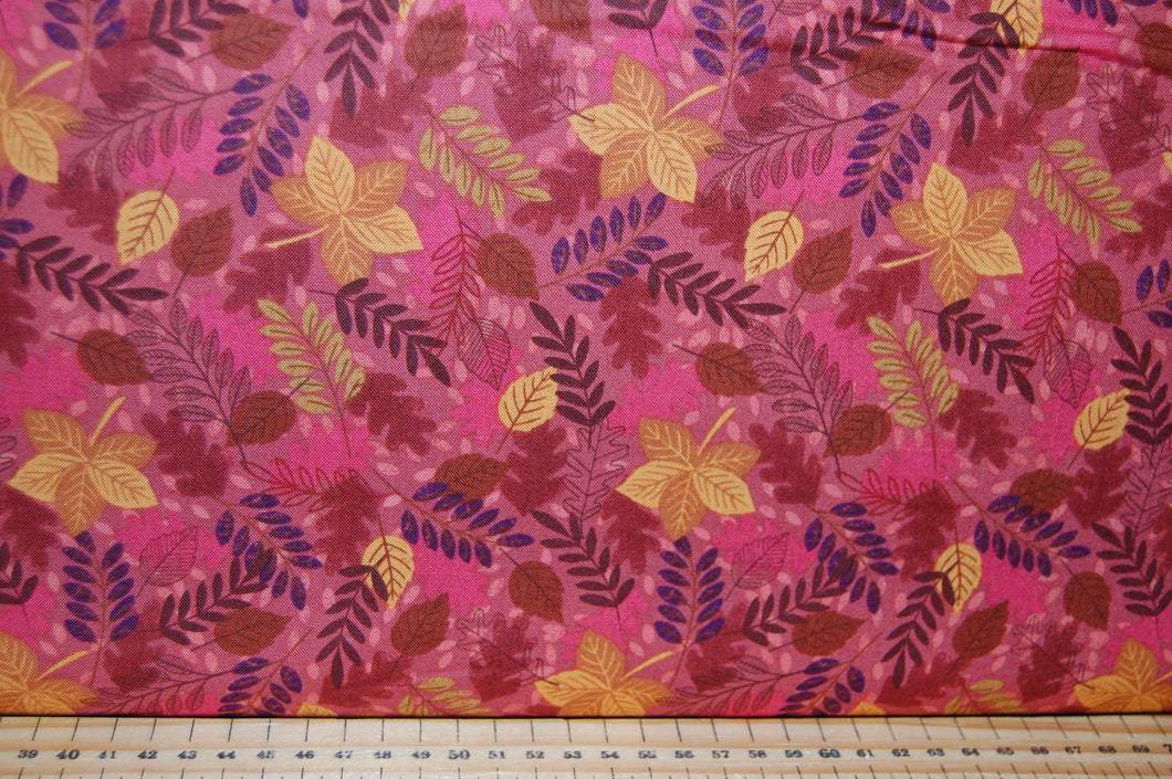 fabric shack sewing quilting sew fat quarter cotton quilt patchwork dressmaking lewis & and irene under the oak tree woodland animals creatures leaves autumn red mustard leaves leaf hedgehog squi (2)