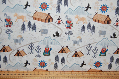 fabric shack sewing quilting sew fat quarter cotton quilt patchwork dressmaking lewis & and irene vikings viking village dragon eagle village (5)