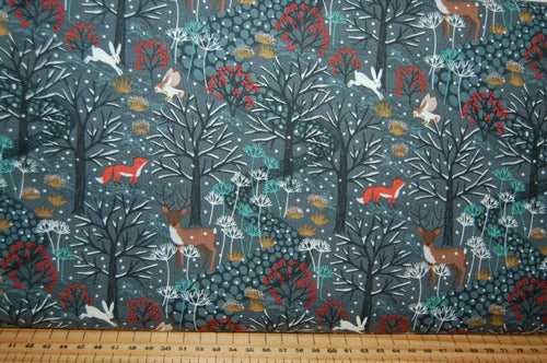 fabric shack sewing quilting sew fat quarter cotton quilt patchwork dressmaking lewis and & irene winter in bluebell wood fox stag reindeer christmas winter owl hare woodland forest mistletoe