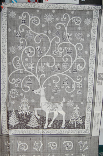 fabric shack sewing quilting sew fat quarter cotton quilt patchwork dressmaking makower andover scandi christmas advent calendar panel reindeer stag red grey (3)