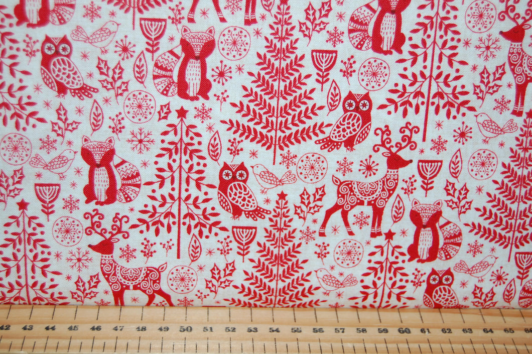 fabric shack sewing quilting sew fat quarter cotton quilt patchwork dressmaking makower scandi animals forest woodland houses village red grey (2)