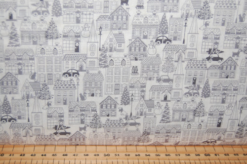 fabric shack sewing quilting sew fat quarter cotton quilt patchwork dressmaking makower scandi animals forest woodland houses village red grey (3)