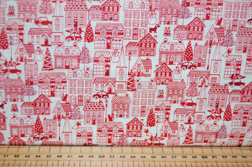 fabric shack sewing quilting sew fat quarter cotton quilt patchwork dressmaking makower scandi animals forest woodland houses village red grey (4)