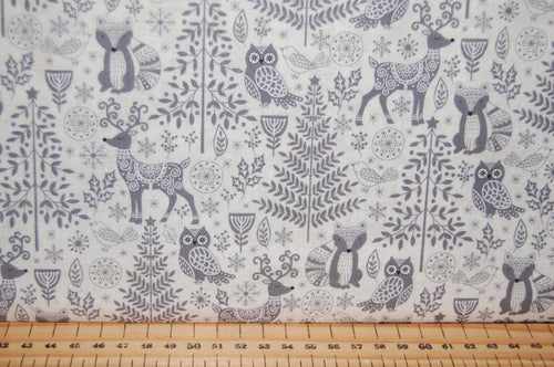 fabric shack sewing quilting sew fat quarter cotton quilt patchwork dressmaking makower scandi animals forest woodland houses village red grey (5)