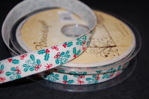 fabric shack sewing quilting sew fat quarter cotton quilt patchwork dressmaking ribbon trim christmas holly mistletoe 15mm