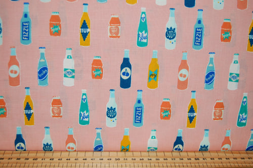 fabric shack sewing quilting sew fat quarter cotton quilt patchwork dressmaking ruby star society rashida colman hale pop zip fizzy drink bottles peach pink
