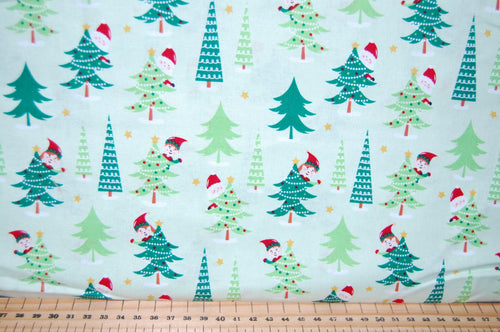 fabric shack sewing quilting sew fat quarter cotton quilt patchwork dressmaking santa elves father christmas woods reindeer happy merry snowflake fun kids (3)