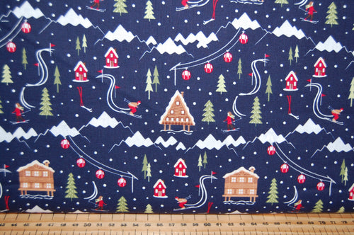 fabric shack sewing quilting sew fat quarter cotton quilt patchwork dressmaking ski resort skiing slopes lodge piste lumberjack check tartan village christmas holidays snow snowflake (5)