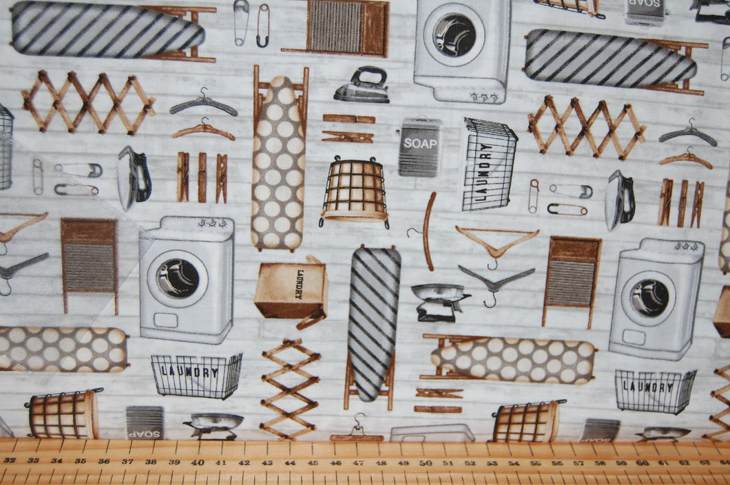 fabric shack sewing quilting sew fat quarter cotton quilt patchwork dressmaking studio e chelsea designworks loads of fun laundry room wash day iron pegs washing line board basket (5)