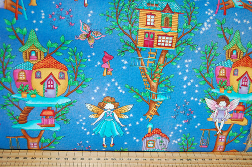 fabric shack sewing quilting sew fat quarter cotton quilt patchwork dressmaking studio e fairy land fairyland fairies houses house jars glow in the dark childrens girls kids