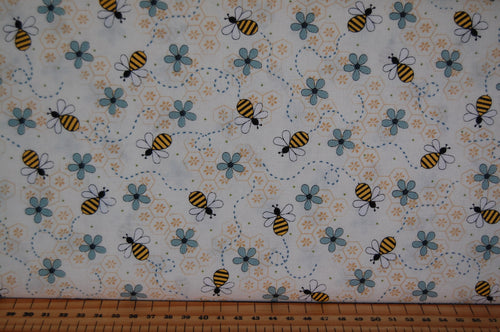 fabric shack sewing quilting sew fat quarter cotton quilt patchwork gail pan henry glass all about the bees bumble honey grid flower floral hastag blue cream green (2)