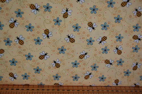 fabric shack sewing quilting sew fat quarter cotton quilt patchwork gail pan henry glass all about the bees bumble honey grid flower floral hastag blue cream green (3)